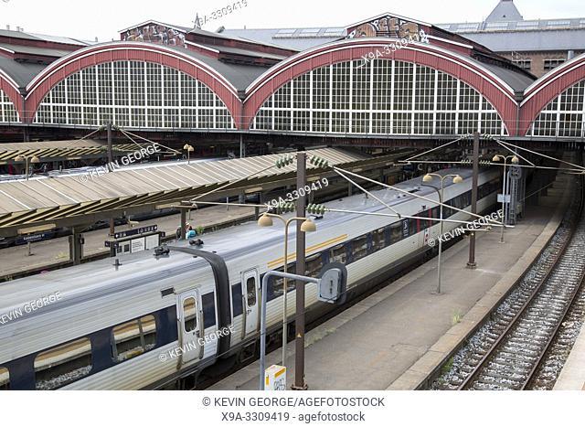 Central Station Platforms and Train Copenhagen; Denmark