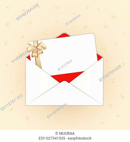 invitation card with gold ribbon and bow in open envelope on beige background with confetti