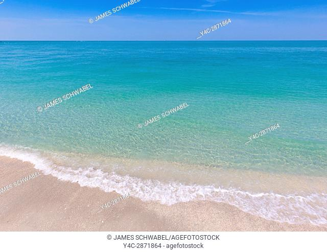 Beach with calm clear aqua marine water of the Gulf of Mexico from Gasparilla Island in Florida