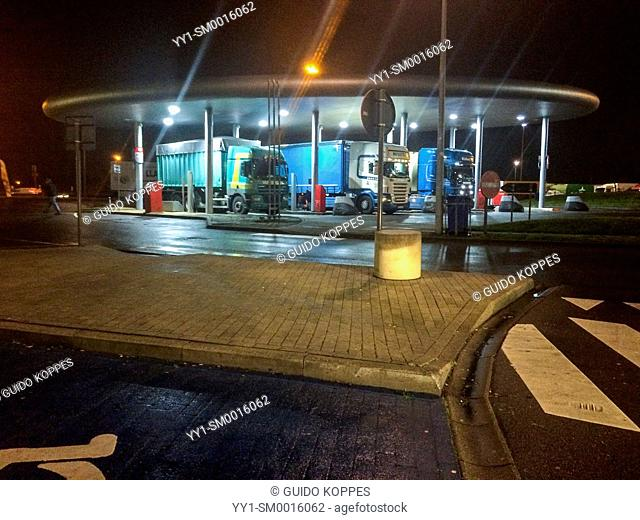 E40 Highway, Belgium. Gasstation for trucks at night