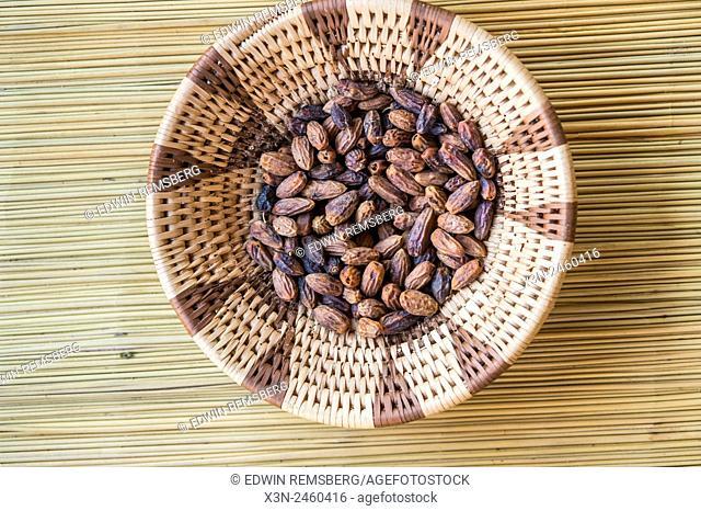 Maun, Botswana, Africa-Dates in a handwoven wicker bowl