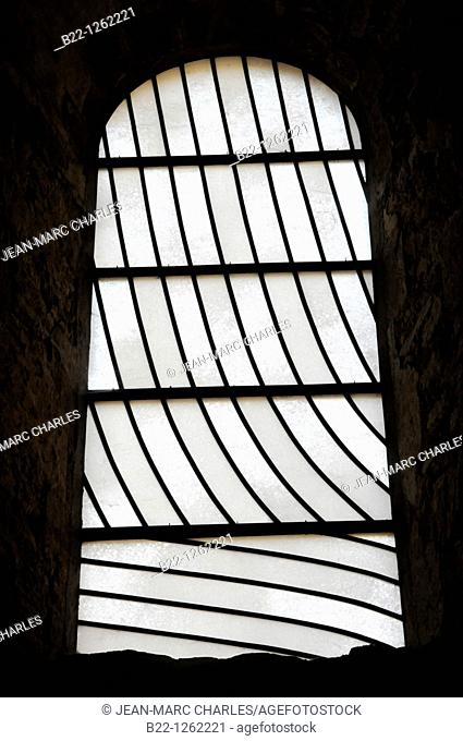 Pierre Soulages stained glass windows, the Sainte-Foy abbey-church in Conques, Aveyron, Midi-Pyrénées, France