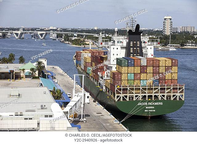 Ft. Lauderdale, Florida. Container Ship at Port Everglades