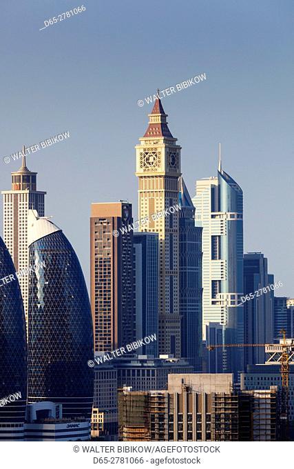 UAE, Dubai, Downtown Dubai, Downtown hi rise buildings, elevated view