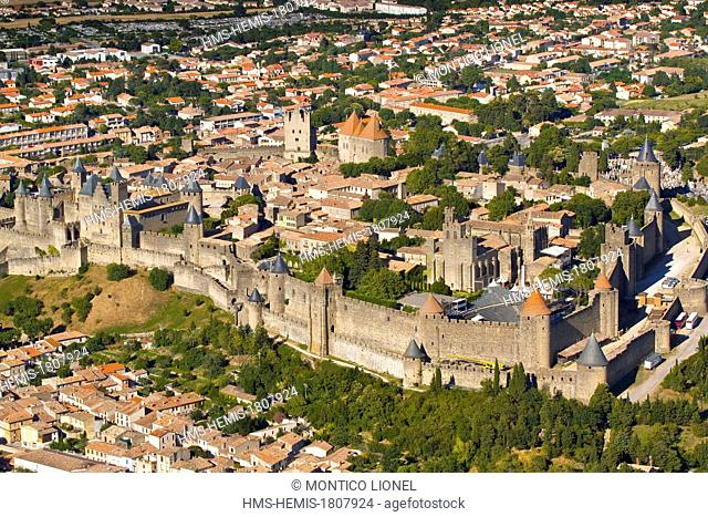 France, Aude, Carcassonne, Medieval city listed as World Heritage by UNESCO (aerial view)
