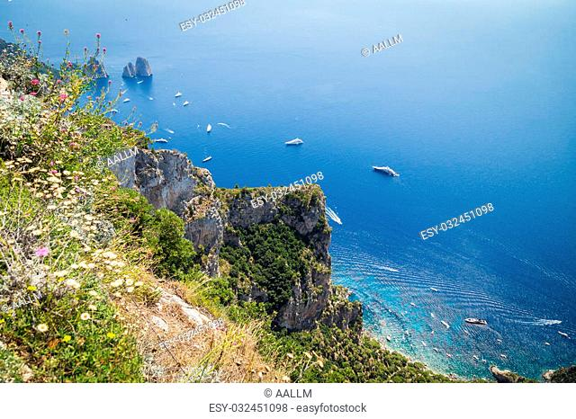 Sorrento, Italy - July 15: View of the town of Sorrento.View of Marina Grande, Sorrento. Sorrento is one of the towns of the Amalfi Coast