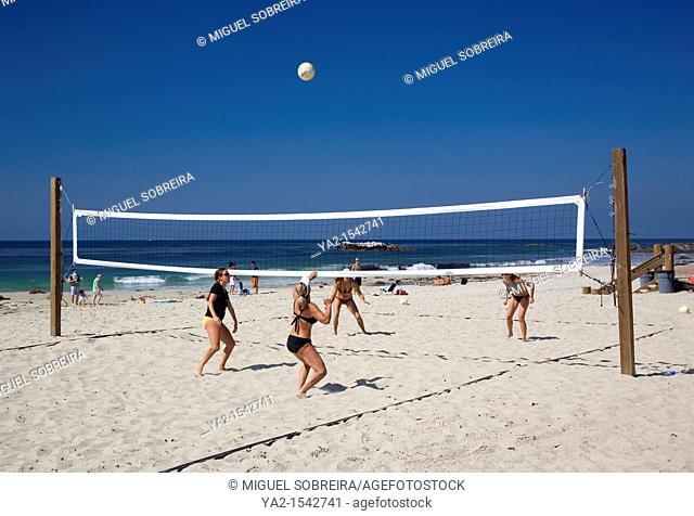Women playing volleyball on Laguna Beach - CA