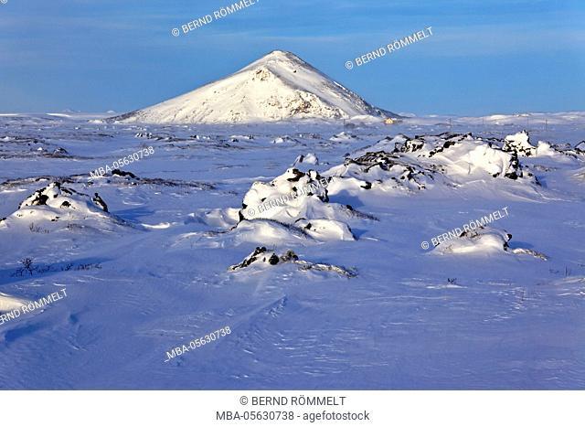Iceland, Iceland, north-east, region of Myvatn, winter scenery near the lake Myvatn