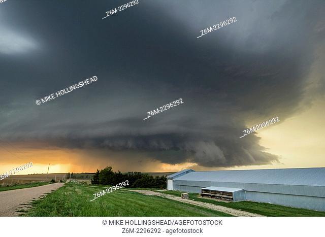 Supercell storm moves over farm land in central Nebraska