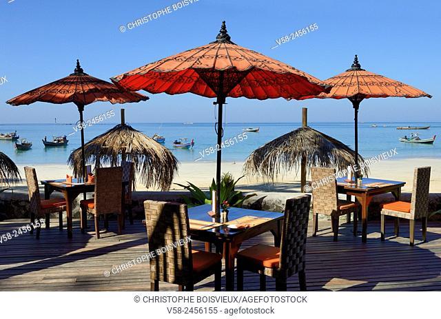 Myanmar, Rakhine State, Ngapali beach, Yoma Cherry Lodge, The terrace
