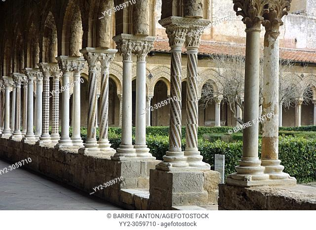 Colorful Cloister Columns, Cathedral of Monreale, Palermo, Sicily, Italy