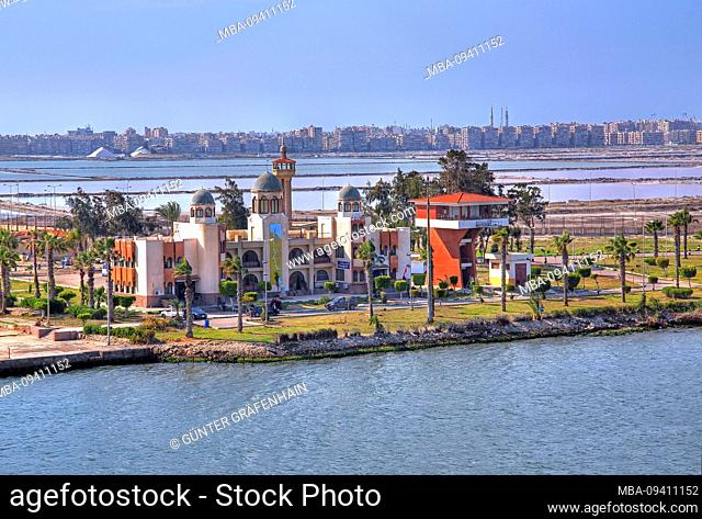 Pilot station of the channel pilots at the Suez Canal (Suez Canal) at Port Said Mediterranean Sea, Egypt