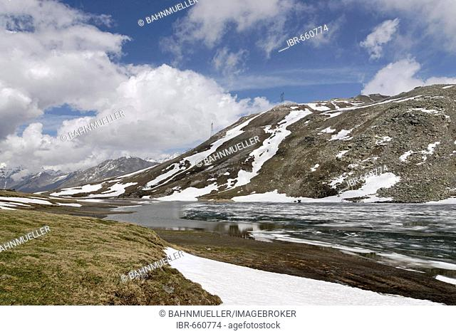 Gran Paradiso National Park between Piemonte Piedmont and Aosta valley Italy Garian Alps at the Colle di Nivolet with the Lake Laghi di Nivolet