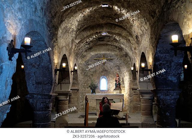 Pre-Romanesque church of Santa Maria de la Tossa de Montbui in the Castle of Montbui. Penedes, Barcelona province, Spain