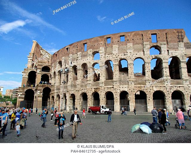 Exterior view of the Colosseum in Rome, Italy, 06 October 2016. The landmark was built from 72 to 80 AD and is the largest Roman amphitheatre