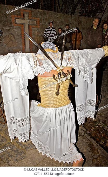 'Empalaos' impaleds, Holy Week in Valverde de la Vera Empalao  Caceres province, Extremadura, Spain
