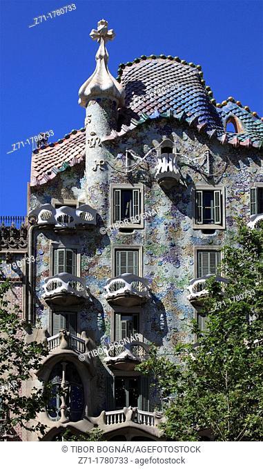 Spain, Catalonia, Barcelona, Casa Batllo, modernist architecture