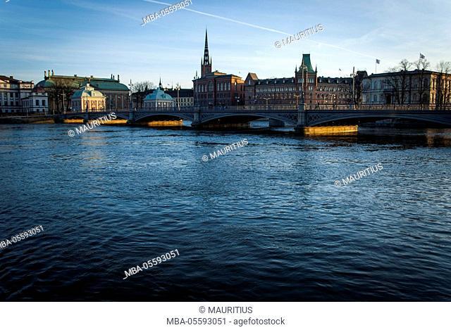View on Riddarholmen with Riddarhuset, Riddarholmskyrkan and Norstedtshuset, Stockholm