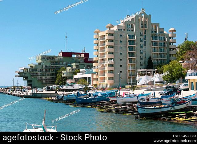 Pomorie, Bulgaria - May 09, 2020: Beautiful view of the boats in the harbor