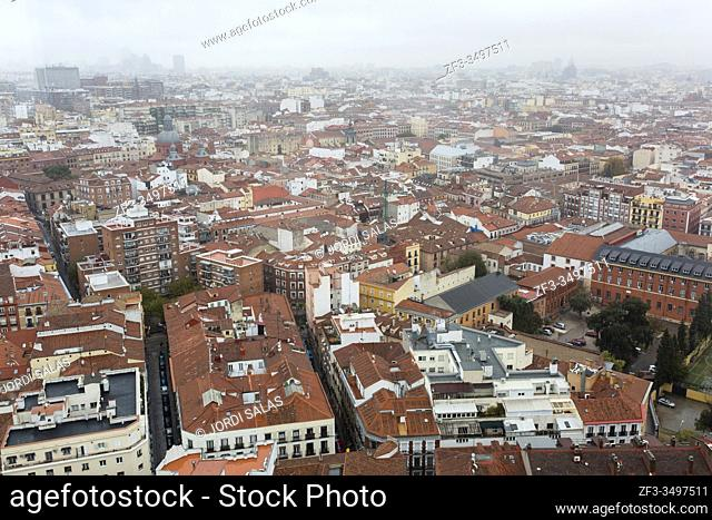 Panoramic view of the rooftops in Madrid centro on a rainy day. Madrid, Spain
