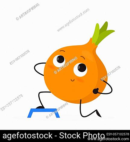 Funny onion character doing sport exercise in the gym. Fitness and diet. Vegetable make lunges. Isolated vector illustration in cartoon style