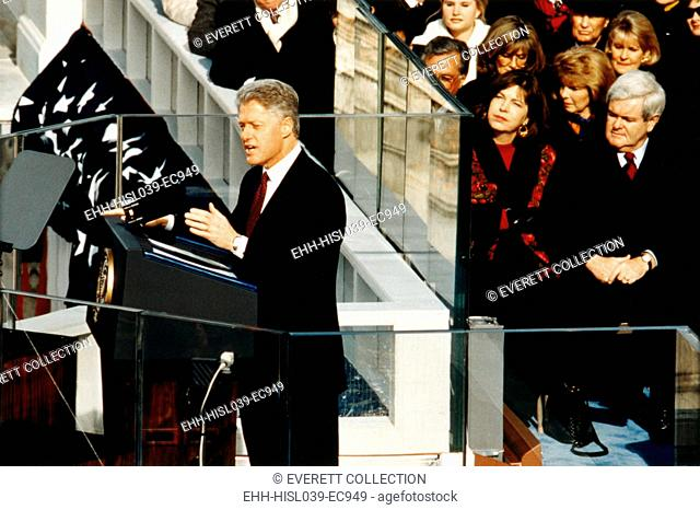 President Bill Clinton delivering his second inaugural address, Jan. 20, 1997. At right are House Majority Leader, Newt Gingrich and his second wife