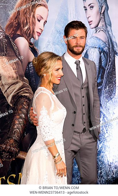Celebrities attend The Huntsman: Winter's War Premiere at Regency Village Theater in Westwood. Featuring: Elsa Pataky, Chris Hemsworth Where: Los Angeles
