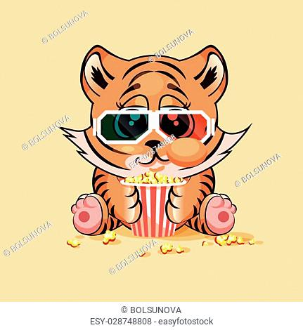 Vector Illustration Emoji character cartoon Tiger cub chewing popcorn, watching movie in 3D glasses sticker emoticon for site, infographic, video, animation