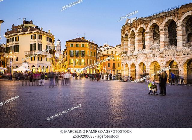 Roman amphitheatre Arena di Verona and Piazza Bra square at dusk. Verona, Veneto, Italy, Europe