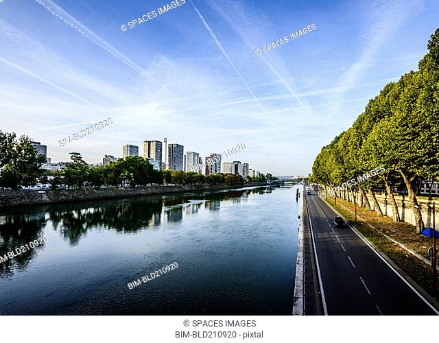 Paris city skyline along Seine River, Paris, France