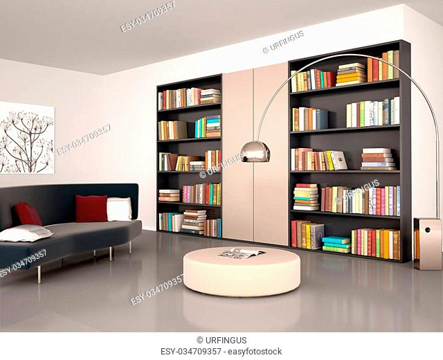 3d illustration of Modern reading room. The wall of the bookcase and books