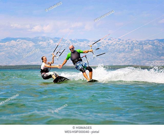 Croatia, Zadar, kitesurfer having fun