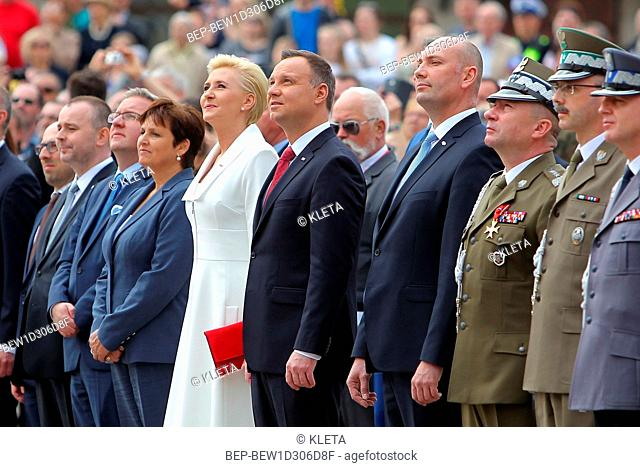 May 2nd , 2018 Castle Square in Warsaw, Poland. Polish National Flag Day and Polish Diaspora and Poles Abroad Day. In the Picture: President Andrzej Duda and...