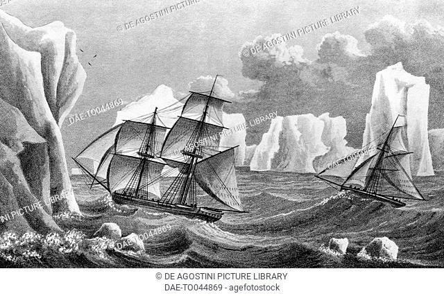 The brig Jane heading south through a chain of ice island, Antarctica, illustration from A Voyage toward the South Pole in the years 1822-24