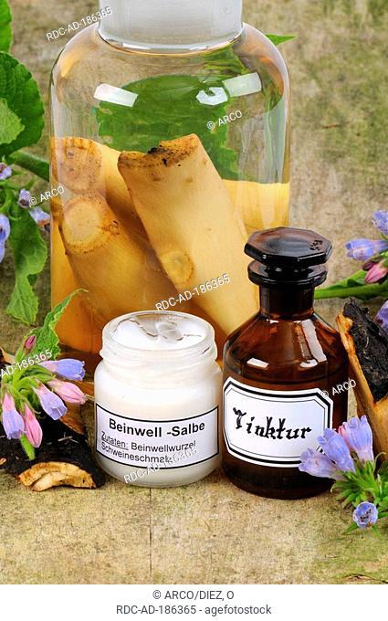 Common Comfrey ointment and Common Comfrey tincture, Symphytum officinale