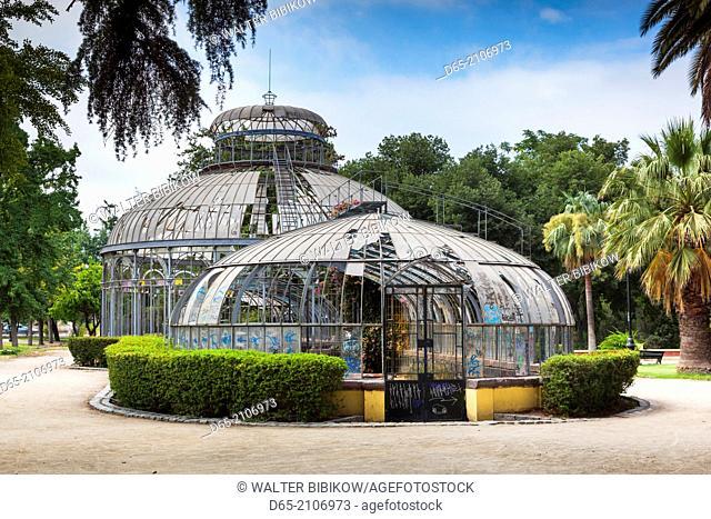 Chile, Santiago, Parque Quinta Normal park, antique greenhouse