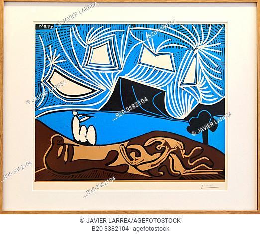 """""""Couple et flûtiste au bord d'un lac"""", 1959, Pablo Picasso, Picasso Museum, Paris, France, Europe"""