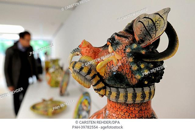 "The piece """"The Aids Monster"""" by artist Ardmore Ceramic is on display in the Herbert Gerisch Stiftung in Neumuenster, Germany, 24 May 2013"