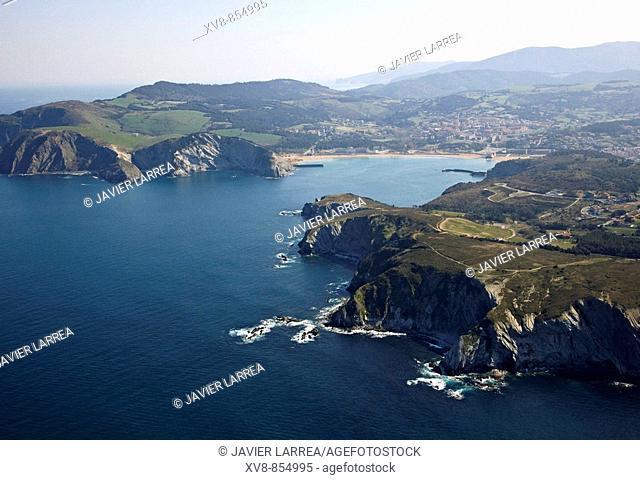 Barrika, Plentzia in background, Biscay, Basque Country, Spain