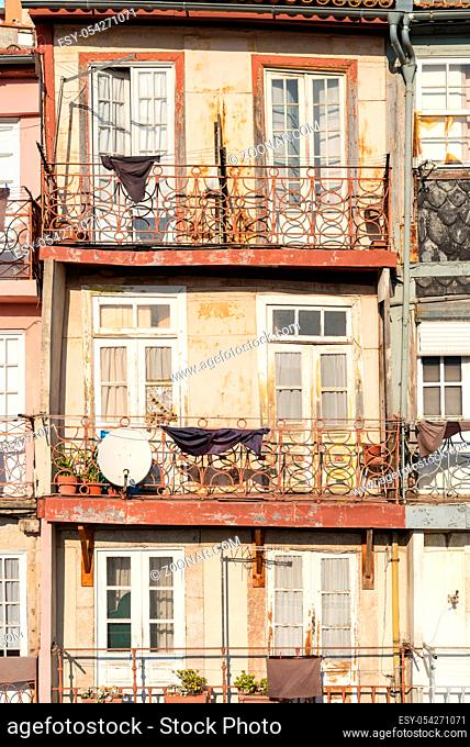 Typical terraced house of pombalin architectural style in the Miragaia district of Porto