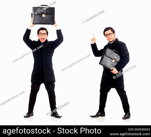 The young man holding suitcase isolated on white