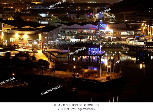 Cardiff Bay at night South Wales showing the waterfront and its restaurants
