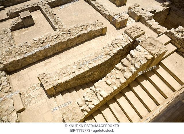 Foundation walls and staircase on the grounds of the Minoan excavation of Knossos, Heraklion, island of Crete, Greece, Europe