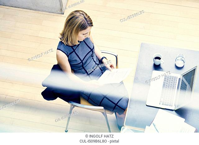 High angle window view of young businesswoman looking at paperwork at office desk