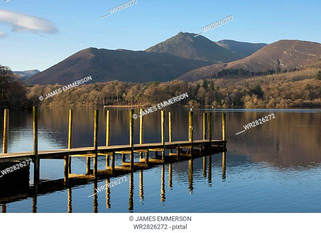 Causey Pike from the boat landing, Derwentwater, Keswick, Lake District National Park, Cumbria, England, United Kingdom, Europe