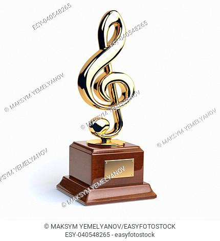 Gold treble clef s trophy isolated on white. Music award concept. 3d illustration