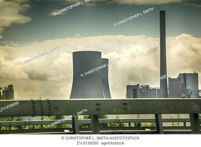 Power Station cooling towers near Hamm on the A-2 in Germany