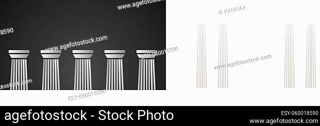 Architecture greek white marble pillars on black background. Vector illustration for flat architecture design. Building ancient monument background
