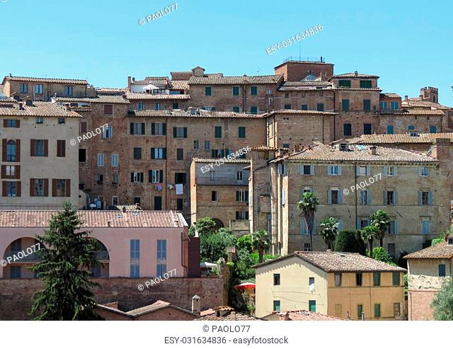 View of the old city centre in Siena, Italy