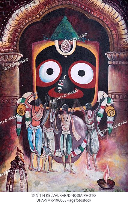Lord jagannath painting, puri, orissa, india, asia